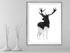 Printable Deer Wall Art Antler Instant Download Rustic Art Print Printable Deer Home Decor Black and White Minimalist Art Digital Animal Art
