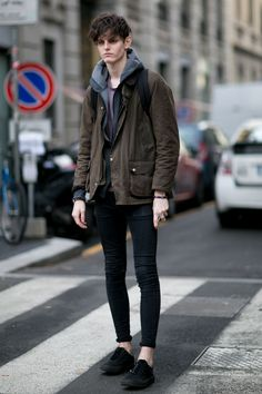 "damplaundry: "" Charlie Adshead at MFW F/W 2015 (via) "" Streetwear Mode, Streetwear Fashion, Stylish Men, Men Casual, Modell Street-style, Superenge Jeans, Casual Outfits, Fashion Outfits, Sport Outfits"