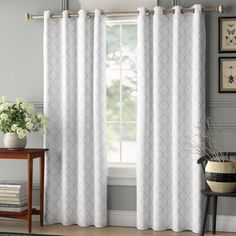 Dining Room Curtains, Colorful Curtains, Panel Curtains, Living Room Wall, Window Treatments Living Room, Living Room Grey, White Curtains Living Room, Curtains For Grey Walls, Grey And White Curtains