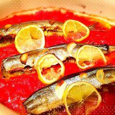 鰯が無くて…クミン、コリアンダー、ターメリック、ニンニク、生米、オリーブオイルをお腹に詰めて焼きました! - 14件のもぐもぐ - モロッコ料理 サンマのファルシ by 72Yu18