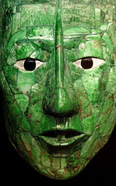 Jade mask of K'inich Janaab' Pakal (March 603 – August 683). He was ruler of the Maya polity of Palenque.