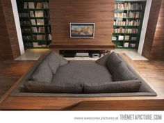 homebed theater  - awesome, but that tele looks awefully small for # 1 that wall..#2 how far away you would be whilst lying on the bed...  :/
