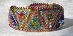 Quilted Triangles Peyote Bracelet. $43.00, via Etsy.