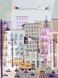 Illustration for NPR 2012 Calendar by Josie Portillo Building Illustration, Children's Book Illustration, Graphic Design Illustration, American Illustration, Bg Design, Mail Art, Illustrations Posters, Illustrators, Concept Art