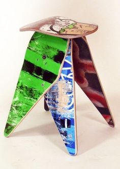 Recycled Skateboard Stool - Deckstool No.443 - Skateboarder furniture gift Skateboarding, Boy Or