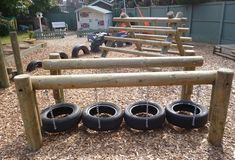 I love this use of tires! It looks so basic and I bet it would get used in a lot of ways.: