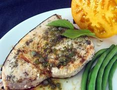 Grilled Swordfish with Grill-Roasted Lemon & Caper Dressing