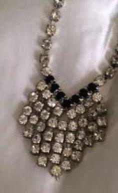 Vintage Crystal, Silver And Black Necklace