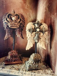 Decorative Bottles : mac sculpture is one of my favorite companies! -Read More – Crown Decor, Angel Wings Wall, Media Room Design, World Decor, Cross Art, Remodels And Restorations, Tuscan Decorating, Paperclay, Tuscan Style