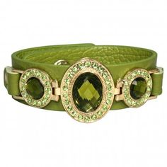 Triple Faceted Antique Style Gemstone Color Glass PU Leather Fashion Snap Bracelet
