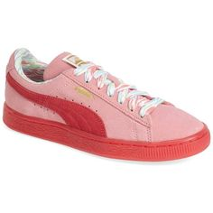 PUMA Suede Classic Lo Coastal Sneaker ($37) ❤ liked on Polyvore featuring shoes, sneakers, flamingo pink, cushioned shoes, patterned shoes, puma footwear, puma sneakers and suede shoes