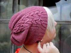 Hand knit pink wool cabled tweed slouch hat beret autumn fall winter fashion