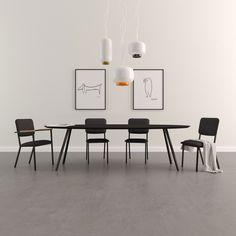 Design Tafel Ovaal Slim Co Zwart Zwarte lak STUDIO HENK Eiken Hout kwaliteit, stalen ijzeren metalen poten onderstel frame