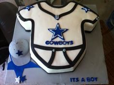 Perfect for a daddy shower! I love it cause its a cowboys cake! Who needs to have a baby to enjoy it!