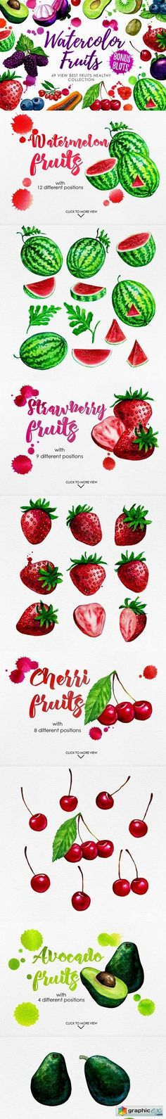 Watercolor Fruits Vol. 3  stock images