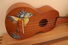 Your place to buy and sell all things handmade Ukulele Art, Ukulele Songs, Guitar Art, Ukulele Chords, Painted Ukulele, Painted Guitars, Impression Poster, Ukulele Design, Guitar Painting