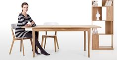 The Monty large extending oak dining table is a stylish square design with a butterfly mechanism for seating up to ten people if you wish.