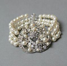 Vintage Inspired Bridal Bracelet Rhinestone by LavenderByJurgita, $94.00
