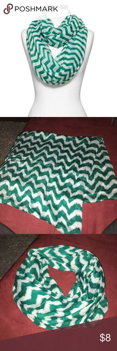 EUC teal and white chevron infinity scarf Teal and white chevron pattern has jagged, distressed edges on pattern. Stock photos show scarf style and as similar as possible. thirtyone Accessories Scarves & Wraps