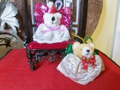 Two Decorative Teddy Bear Angel Ornaments. Angel Ornaments, Vintage Patterns, To My Daughter, Recycling, My Etsy Shop, Teddy Bear, Toys, Check, Handmade