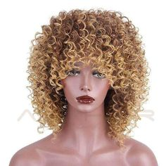 AISI HAIR High Temperature Fiber Mixed Brown and Blonde Color Synthetic Short Hair Afro Curly Wigs for Black Women