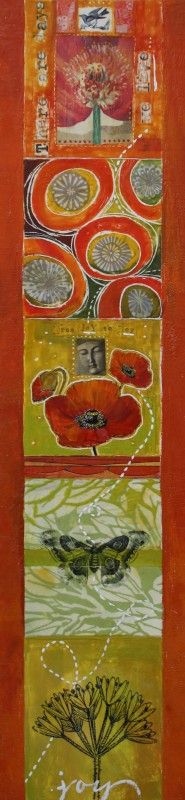 """""""FROM JOY TO JOY"""" - 46"""" X 11""""- Encaustic on wood  by Diana Woods"""