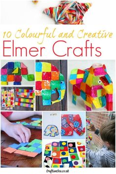 The brightest, most cheerful and most fun Elmer crafts for kids! 10 fantastic activities to excite kids about Elmer the Elephant. Toddler Preschool, Toddler Crafts, Toddler Activities, Preschool Ideas, Rainbow Activities, Craft Ideas, Book Crafts, Fun Crafts, Crafts For Kids