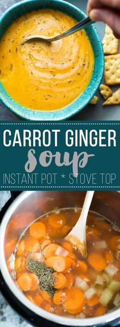 Vegan Carrot Ginger Soup made in the Instant Pot, or on your stove top. A simple and healthy soup recipe to have on your table in minutes!