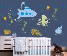 Under the Sea Nursery Wall Decal with Submarine and Ocean Friends for Baby, Kids or Childrens Room