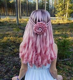 Flower rose hair - Nora K. Cute Hair Colors, Beautiful Hair Color, Hair Dye Colors, Cool Hair Color, Half Braided Hairstyles, Pretty Hairstyles, Rose Hairstyle, Twisted Hair, Coloured Hair