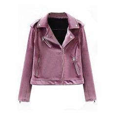 Purple Velvet Lapel Zip Detail Biker Jacket (2.290 RUB) ❤ liked on Polyvore featuring outerwear, jackets, motorcycle jacket, purple velvet jacket, velvet moto jacket, purple moto jacket and purple biker jacket