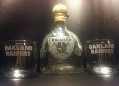 "Etched OAKLAND RAIDERS ""RAIDER NATION"" Patron Tequila Bottle Set"