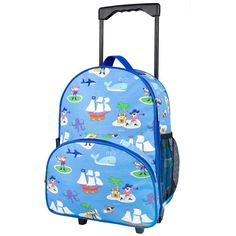 Children's Pirates Rolling Luggage - Available now on Becky & Lolo