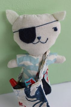 Little Creatures 2016. Sailor Cat by Romana Toson. Linen softie, fabric, embroidered, felt.