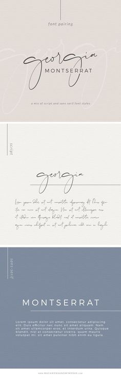 Choosing the proper font combination will give you a luxurious, modern, traditional, or feminine feel. Montserrat, one of my favorite san serif fonts. Handwritten Fonts, Calligraphy Fonts, Typography Fonts, Script Fonts, Typography Design, Font Logo, Graphic Design Fonts, Graphisches Design, Logo Design