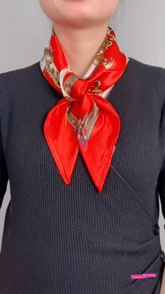 Ways To Tie Scarves, Short Scarves, Ways To Wear A Scarf, How To Wear Scarves, Bow Scarf, Silk Neck Scarf, Scarf Knots, Scarf Wearing Styles, Scarf Styles