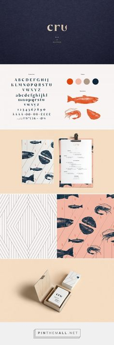 CRU – Oyster Bar on Behance … – a grouped image - corporate branding identity Corporate Design, Brand Identity Design, Graphic Design Branding, Corporate Identity, Logo Branding, Visual Identity, Personal Identity, Branding Ideas, Stationery Design