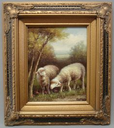 Framed country frence Oil Painting of 2 sheep in woods with very nice frame