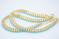 INDIAN BOLLYWOOD GOLD PLATED PEARL WOMEN ANCKLET PAYAL BRIDAL FASHION JEWELRY #Handmade