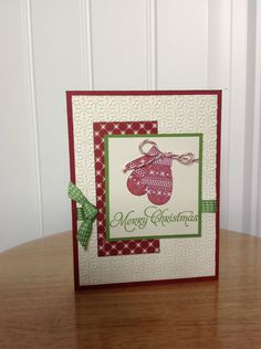 Handmade Christmas Card Kit Winter Mittens Made with Mostly Stampin Up Product | eBay