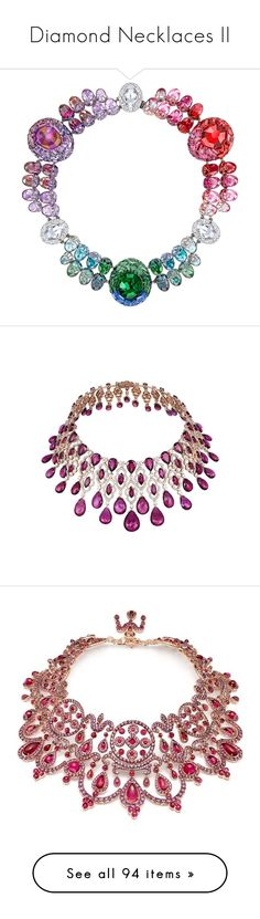 """""""Diamond Necklaces II"""" by sakuragirl ❤ liked on Polyvore featuring necklaces, jewelry, jewels, chopard, chopard necklace, chopard jewelry, red carpet jewelry, chopard jewellery, 18k necklace and white gold jewellery"""