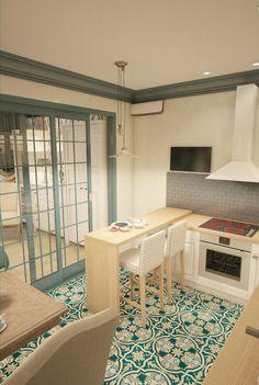 Однокомнатная квартира из прямоугольной студии 36 м - вариант 1 - 3D