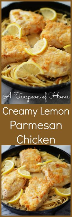 Creamy lemon parmesan chicken is the most savory lemon, parmesan piccata chicken you will ever have. Get the printable recipe here. Crockpot Recipes, Cooking Recipes, Hallowen Food, Best Italian Recipes, Favorite Recipes, How To Cook Pasta, Healthy Dinner Recipes, Yummy Recipes, Diet Recipes