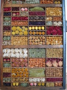 use as inspiration for my confetti flowers --- antique printer's drawer filled with dried flowers and berries