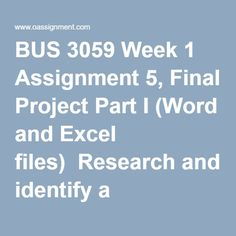 Wonderful BUS 3059 Week 1 Assignment 5, Final Project Part I (Word And Excel Files)  Research And Identify A Publicly Traded Company That Is A Leader In Its  Industry.