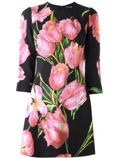 66265f9335ffda DOLCE  amp  GABBANA Floral Print Dress.  dolcegabbana  cloth  dress Pink  Long