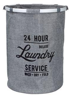 Clas Ohlson. Pyykkikori Laundry Service. Kaunis pyykkikori tukevaa kangasta, kehys alumiinia. Käytännöllinen, tilava ja helppo siirtää. Kork. 55 cm, Ø 40 cm 9,99 € (14,99 €)