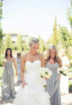 Pretty silver/grey bridesmaid dresses..i know i've probably pinned this already :)