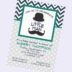 mustache baby shower invite baby boy shower by BlueFenceDesigns, $12.50