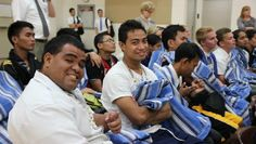 Missionaries for The Church of Jesus Christ of Latter Day Saints after being evacuated from the Philippines Tacloban Mission-- love the smiles!